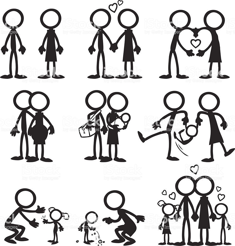 Stick Figure People Familiy Who Love Each Other As They Grow Together Stick Figure Drawing Stick Figure Family Stick Drawings
