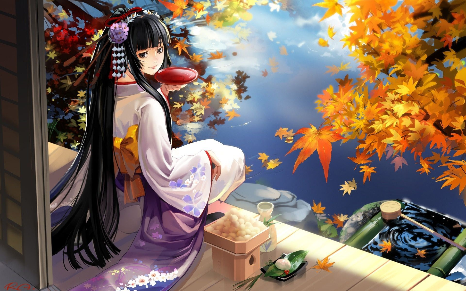 Beautiful Japanese Anime Art Hd Wallpaper 15458 Wallpaper Geisha Anime Cute Anime Wallpaper Anime Scenery