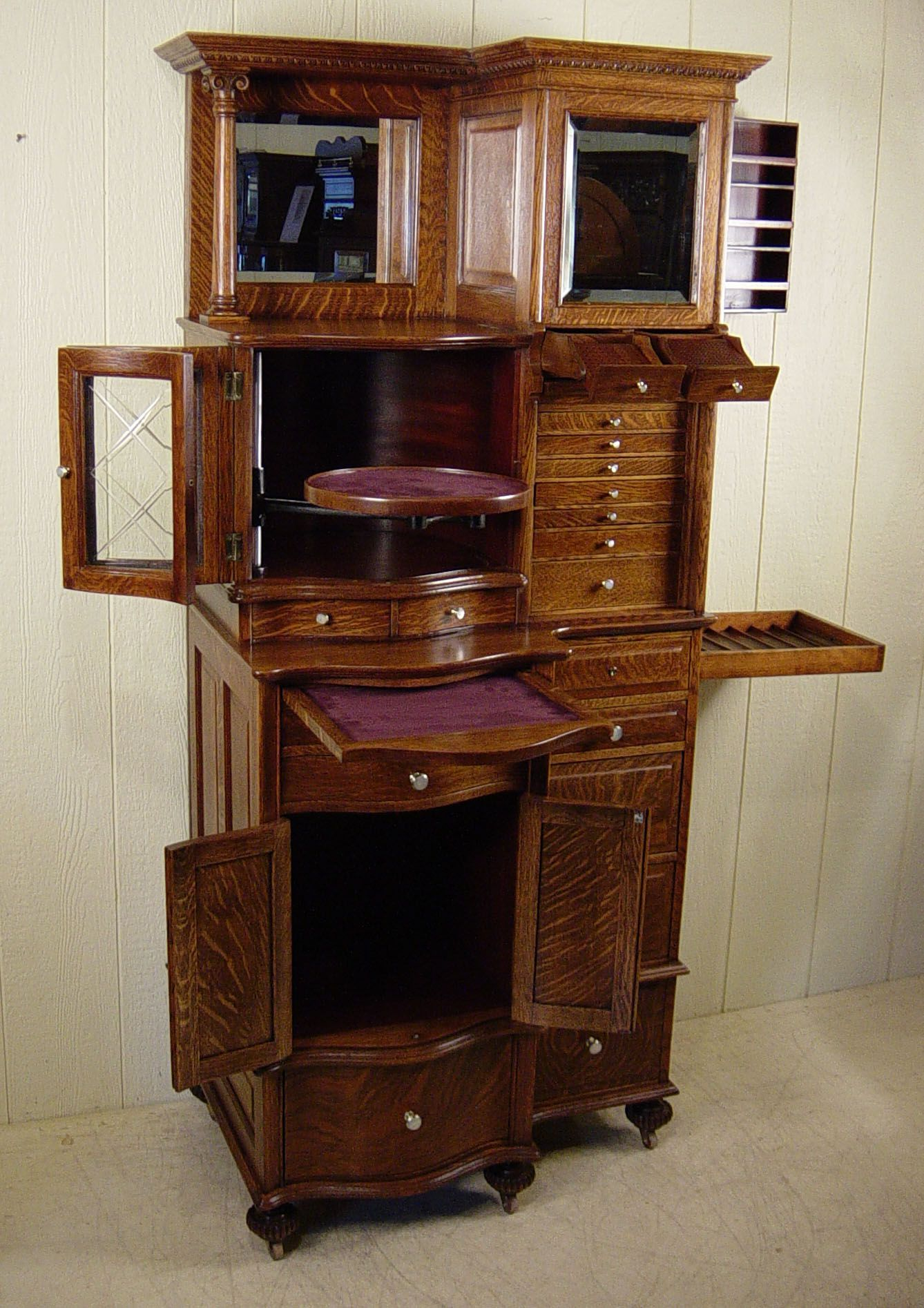 This cabinet is considered the best cabinet ever made by the Ransom &  Randolph Co. There were only 400 made. - Ransom & Randolph Co. Oak Dental Cabinet - Cabinet#66 Antique Dark