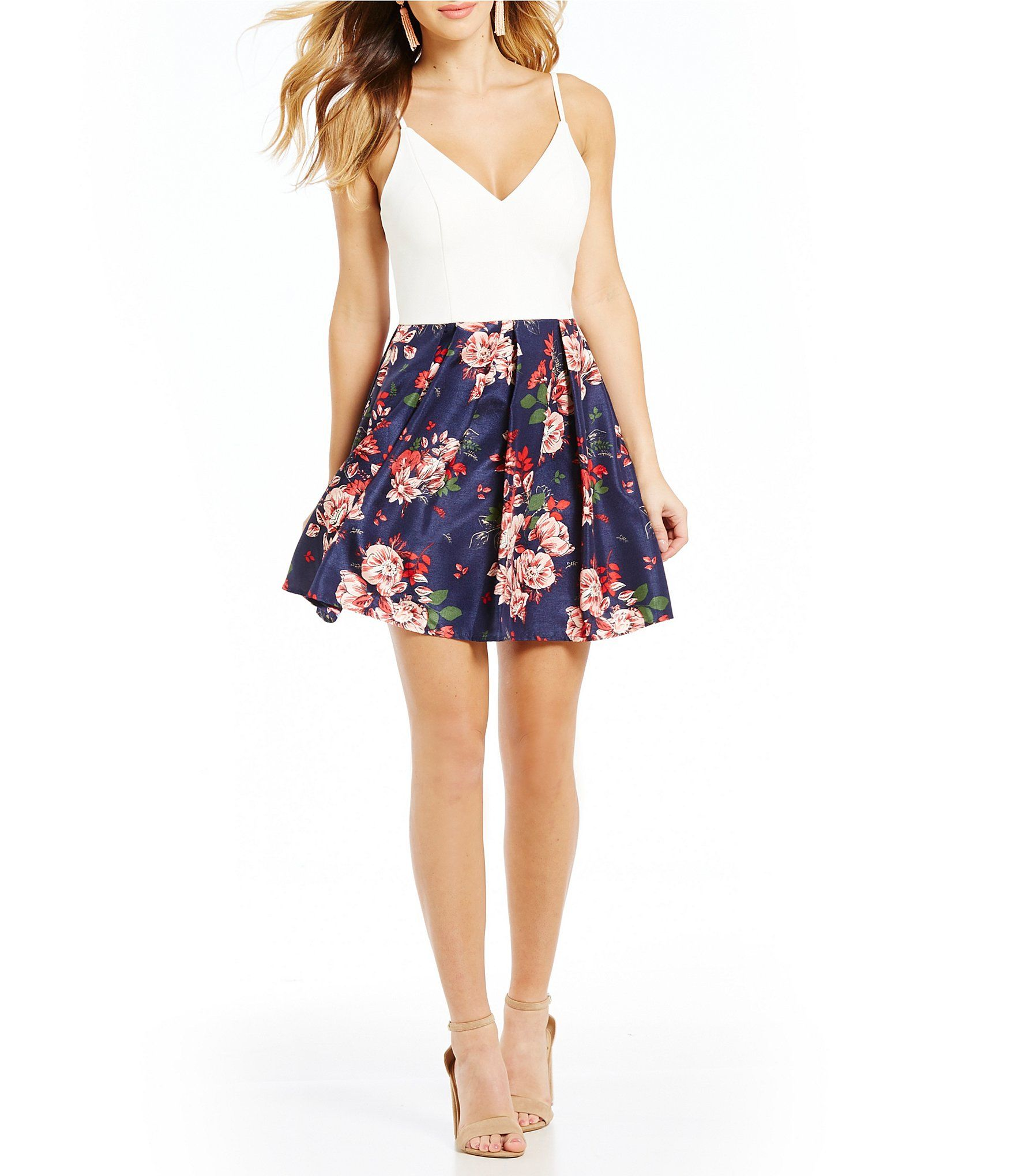 fdcdc6ad7cd Shop for Teeze Me Spaghetti Strap Floral Print Skirt Fit-and-Flare Dress at  Dillards.com. Visit Dillards.com to find clothing