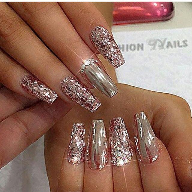 Chrome Glitter Nails