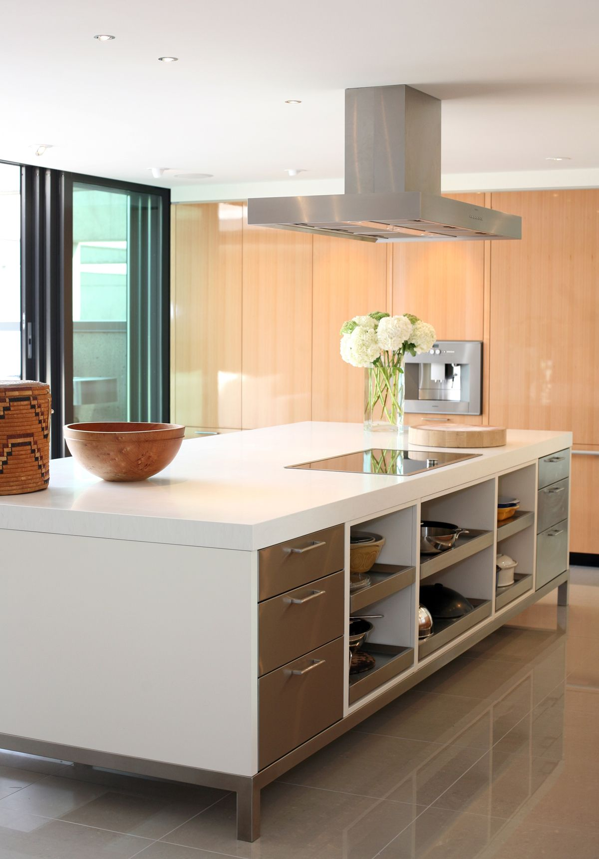 "Corian ""Designer White"" Kitchen Island With Custom Cook"