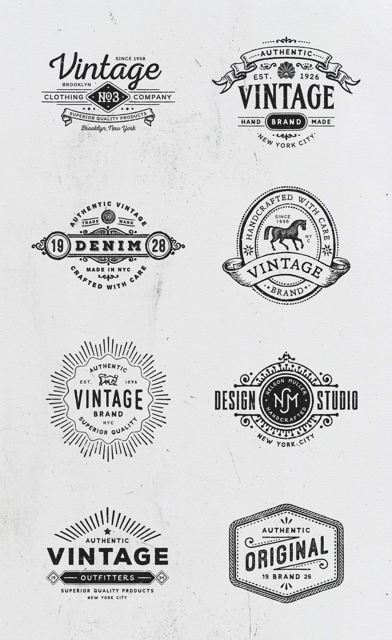 Vintage Logo Templates Vintage Logo Retro Logo Design Logo Design Inspiration Vintage