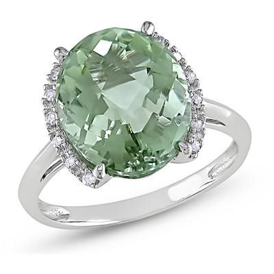 Sofia B 4 CT TW Green Amethyst 10K White Gold Ring with Diamond Accents