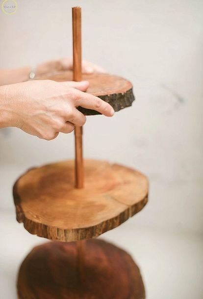 Diy Copper And Wood Slice Dessert Stand Wood Slice Crafts