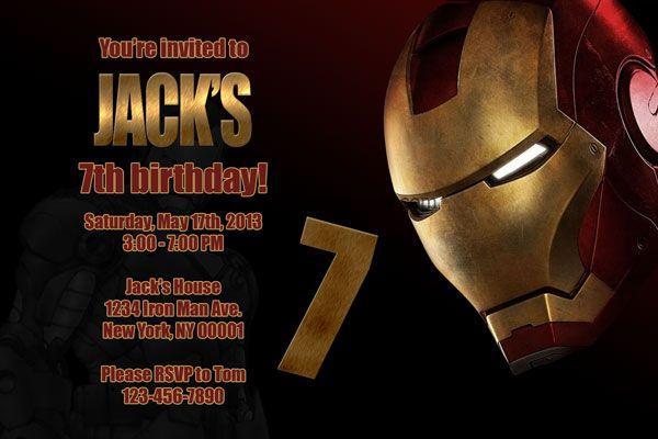 Cool Iron Man Birthday Party Invitations