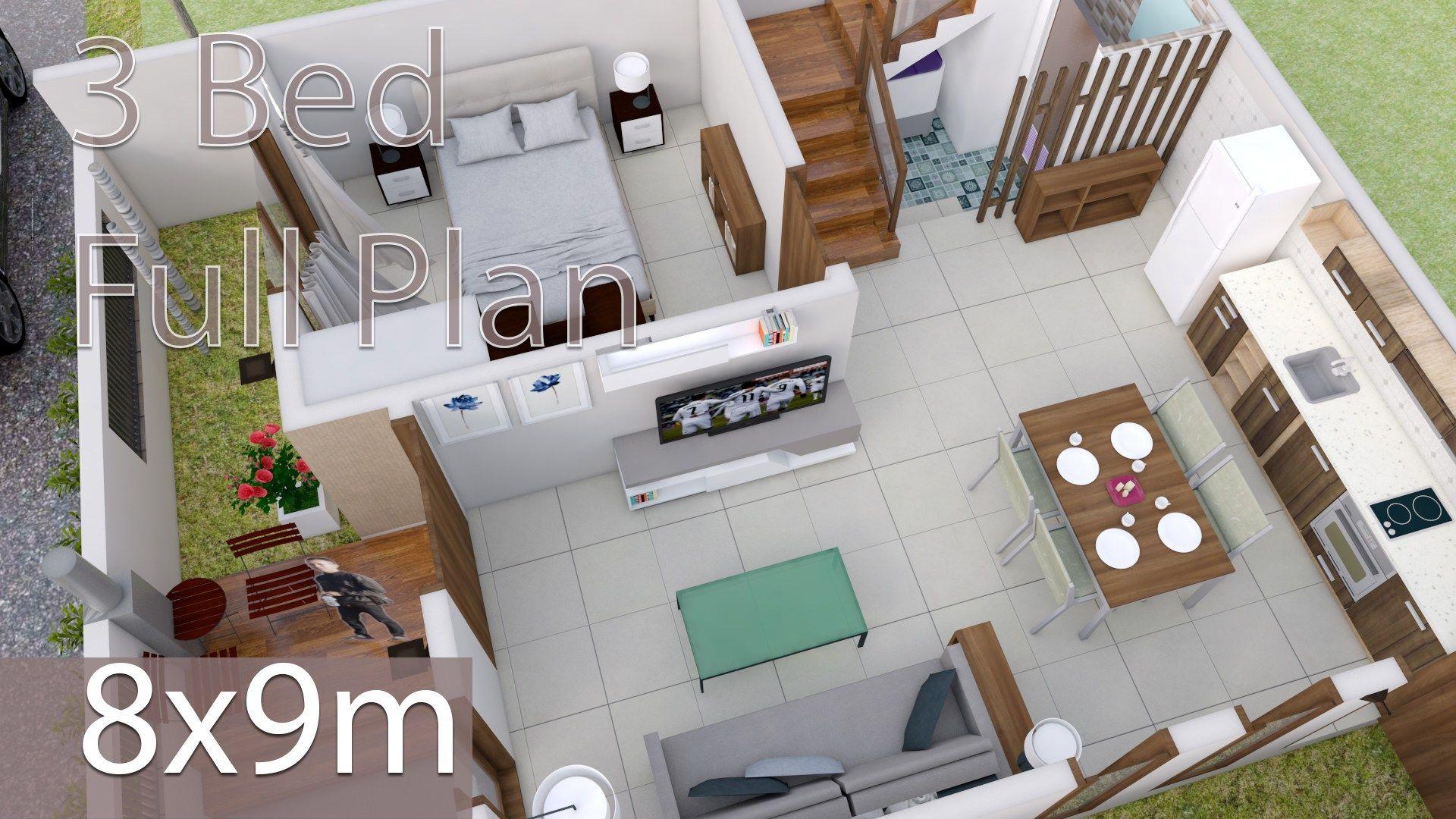 Interior Design Plan 8x9m With 3 Bedrooms Home Design Plans