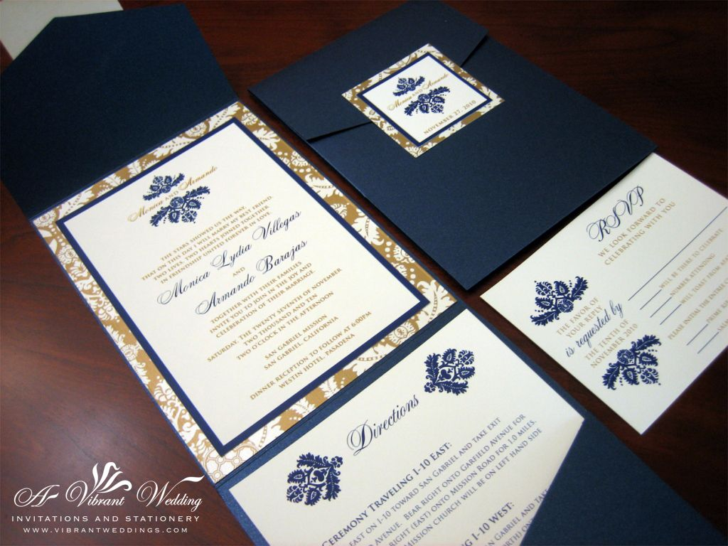 Pockefold style with Damask design. | Navy Blue & Gold wedding | Pinterest | Gold weddings