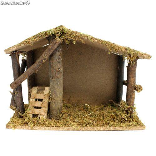 Portal de bel n de madera con musgo 21 x 30 x 15 cm - Casitas para pesebre de carton ...