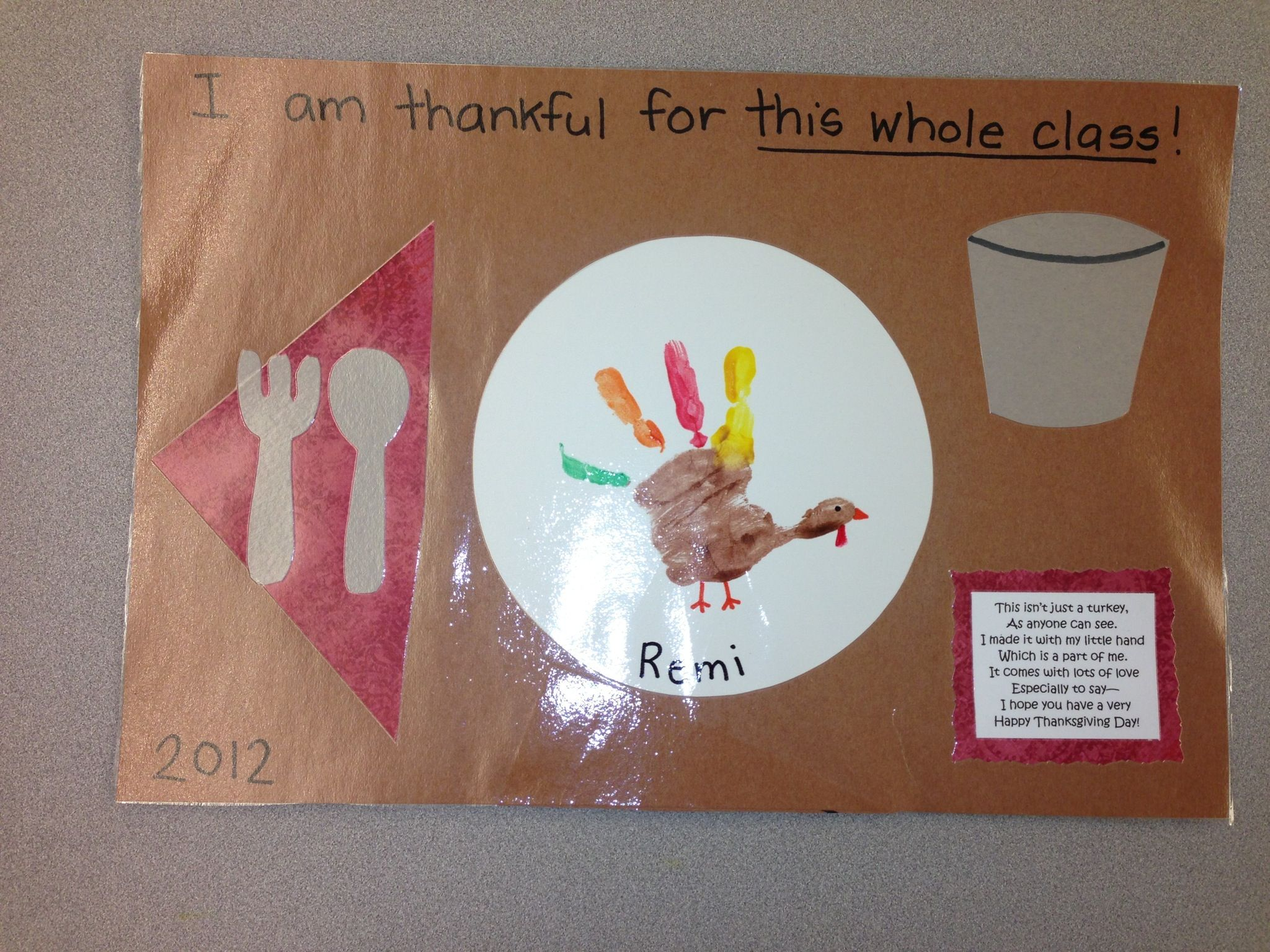 Thanksgiving placemats! We made these in our 2's class this year! As a parent, I love anything with handprints!