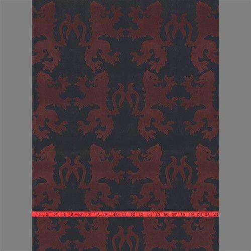 Red Black Lions Velvet Flocked Wallpaper Design By Burke Decor Flock Wallpaper Wallcovering Design Burke Decor