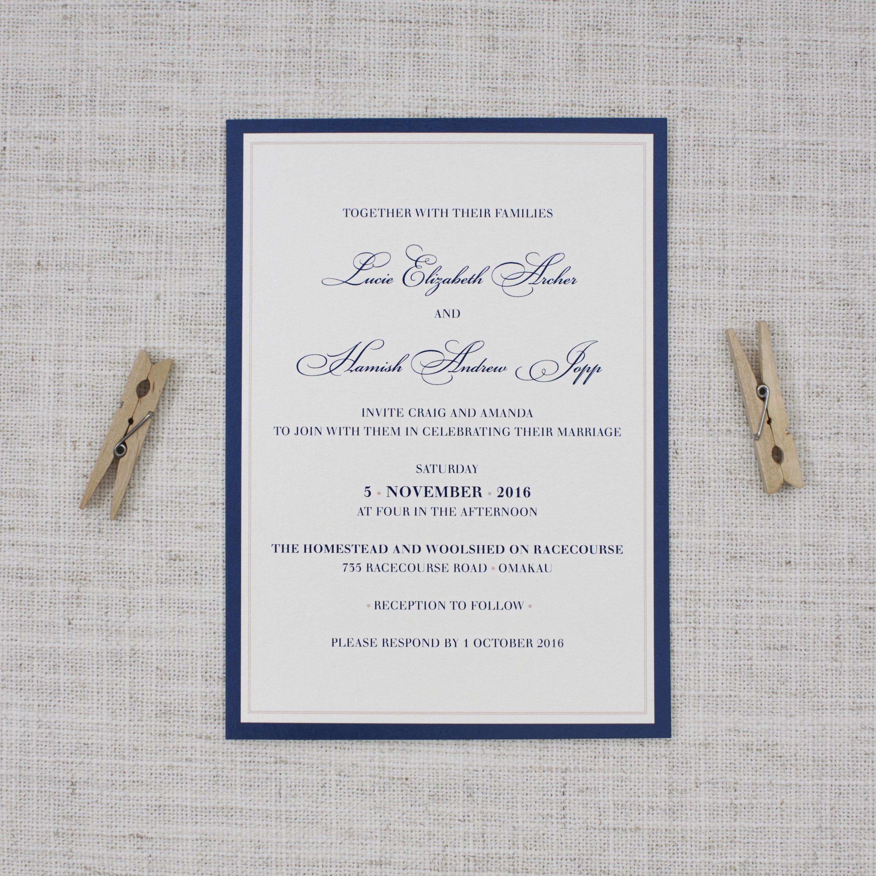 Elegant Navy Blue and Dusky Pink Wedding Invitations | Cursive ...