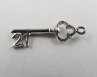 21 Key Sterling Silver Vintage Charm For Bracelet