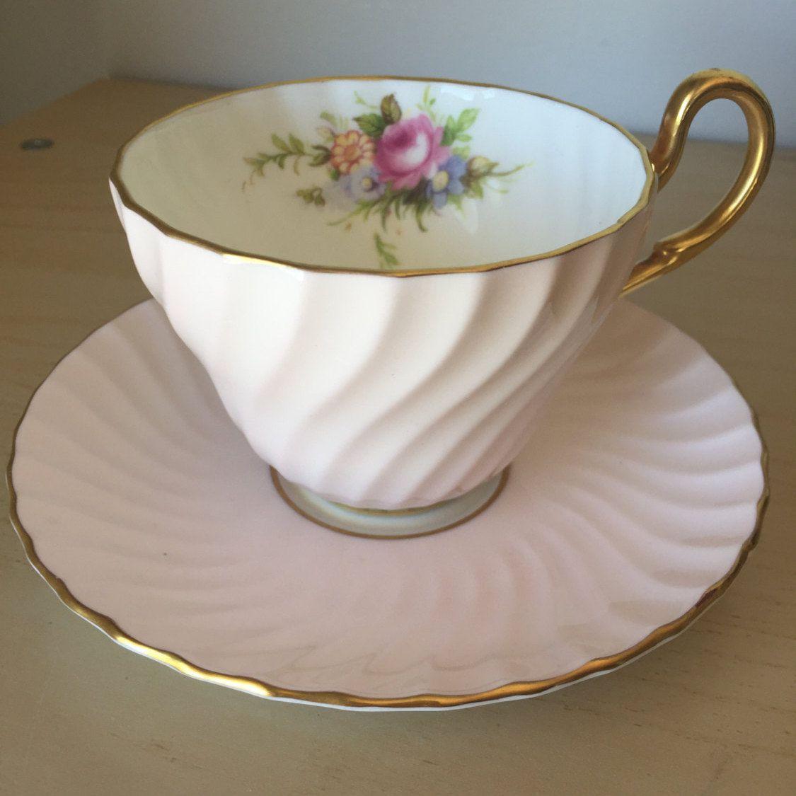 E B Foley Vintage Teacup and Saucer Light Pink Flower Bouquet Tea