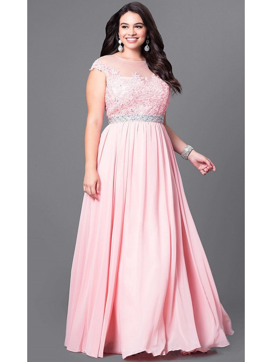 A-Line Long Pink Chiffon Lace Illusion Neckline Long Plus Size Prom ...