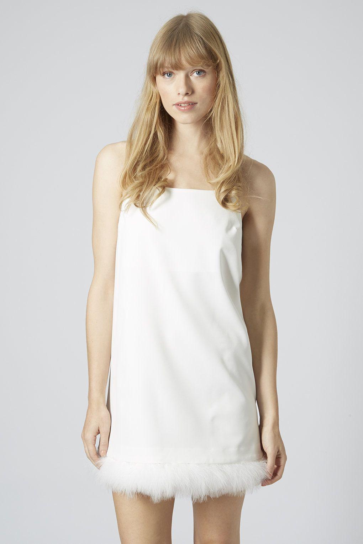 Feather Hem Slip Dress - Topshop   She A Fashion Killa   Pinterest