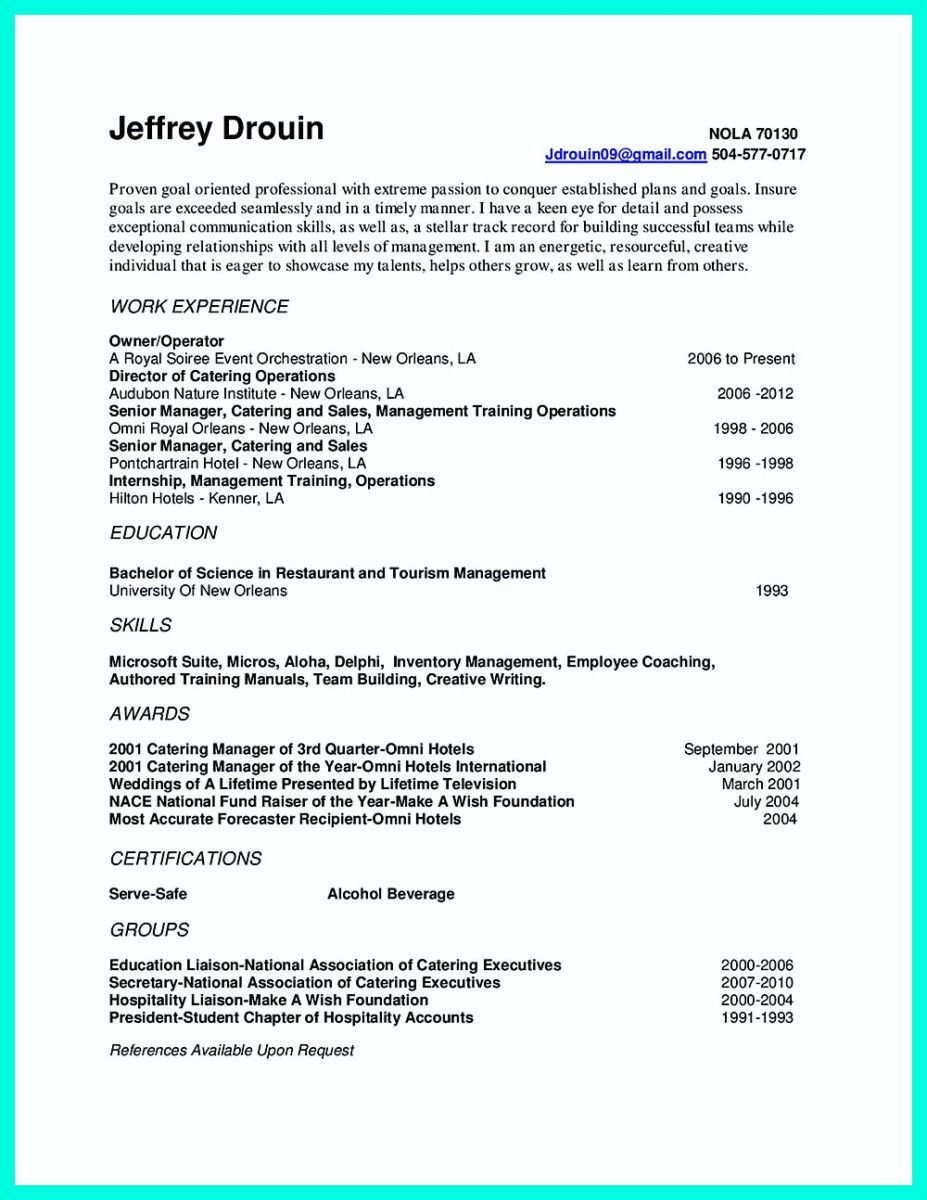 Catering Manager Resume Cover Letter And Warehouse Supervisor