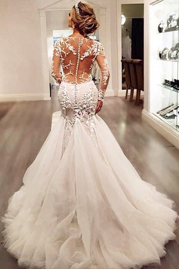 Long sleeve lace mermaid wedding dresses sexy see through long long sleeve lace mermaid wedding dresses sexy see through long custom wedding gowns affordable junglespirit Images