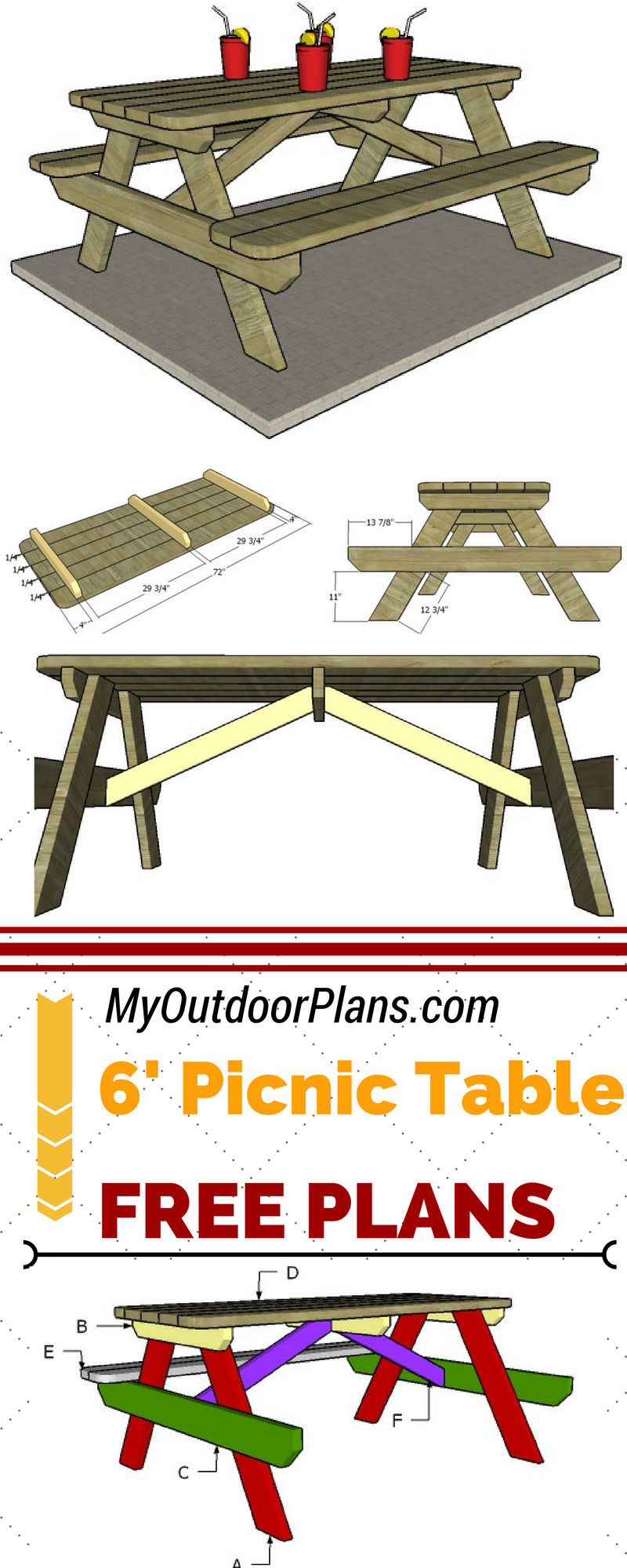 6 Foot Picnic Table Plans Diy Picnic Table Picnic Table Plans