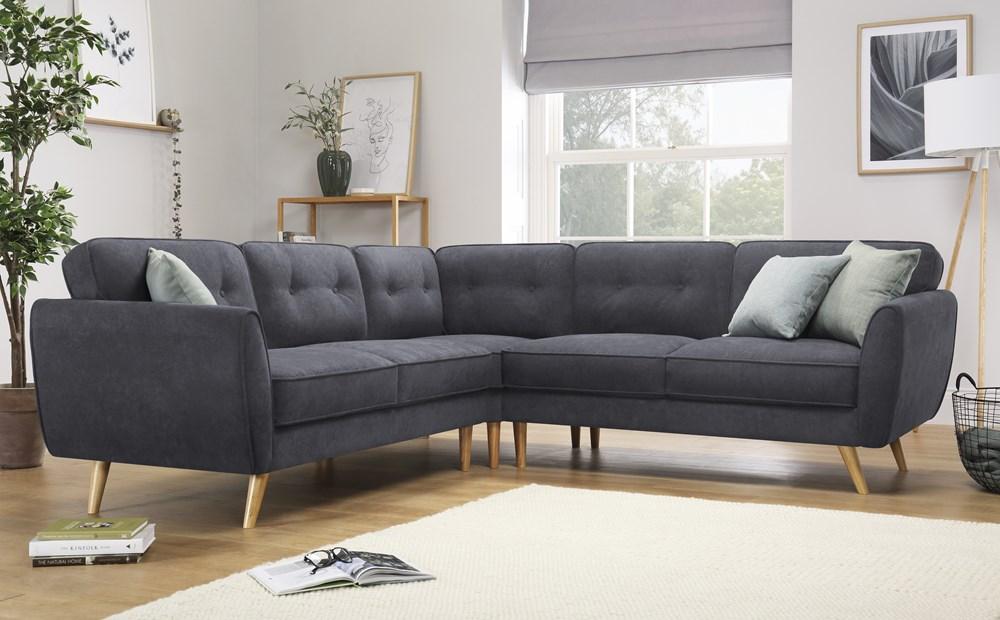 Harlow Slate Grey Plush Fabric Corner Sofa Furniture Choice Leather Corner Sofa Grey Corner Sofa