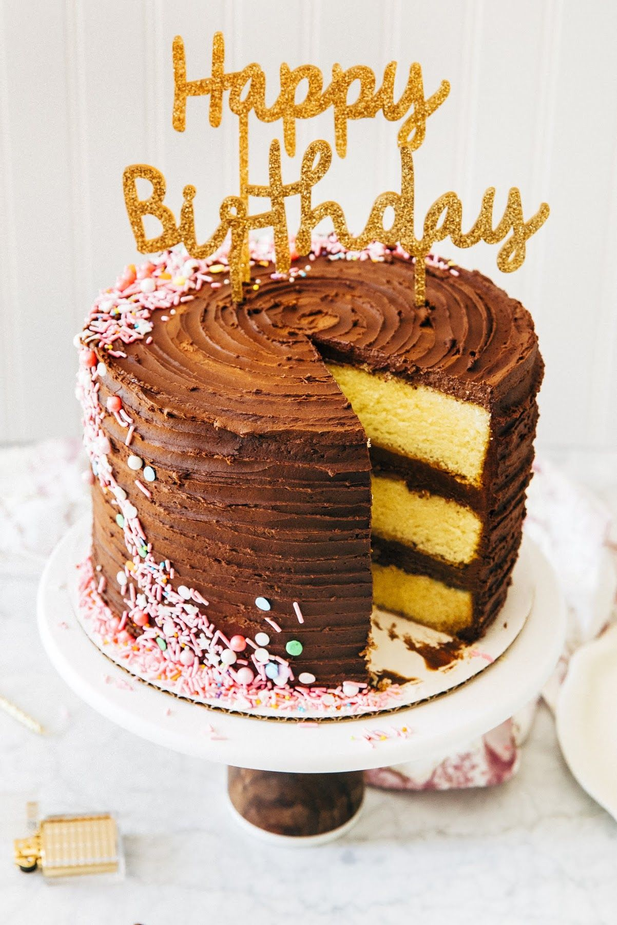 Remarkable Old Fashioned Yellow Birthday Cake With Images Chocolate Layer Funny Birthday Cards Online Elaedamsfinfo