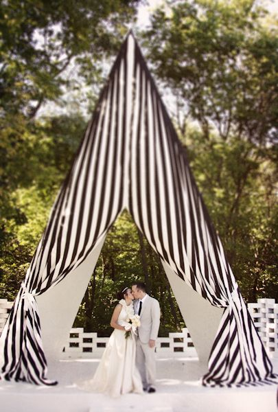 Striped tent