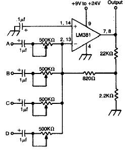 Simple 4 Channel Audio Mixer Electronic Project Circuit Diagram