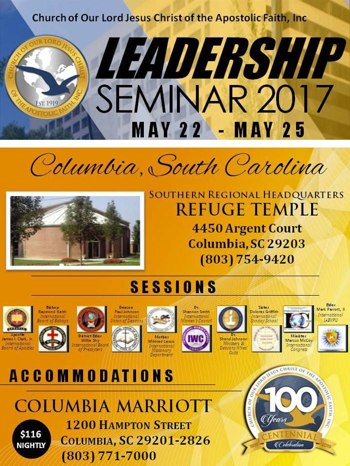 Church of Our Lord Jesus Christ of the Apostolic Faith, Inc - Seminar Flyer