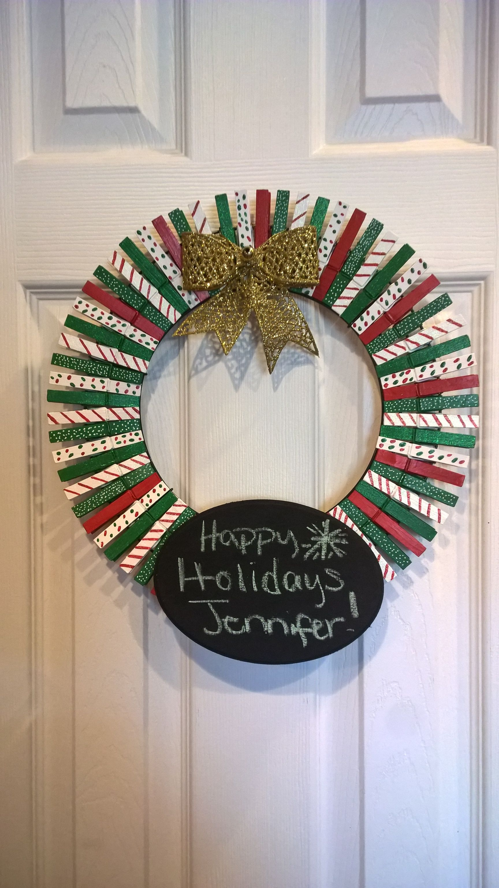 Clothes Pin Wreath Done For Christmas Gift Noel