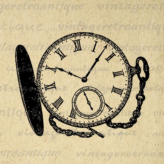 Printable Digital Antique Pocket Watch Image Time Clock Download Graphic Vintage Clip Art Jpg Png Eps 18x18 HQ 300dpi No.2916 @ vintageretroantique.etsy.com