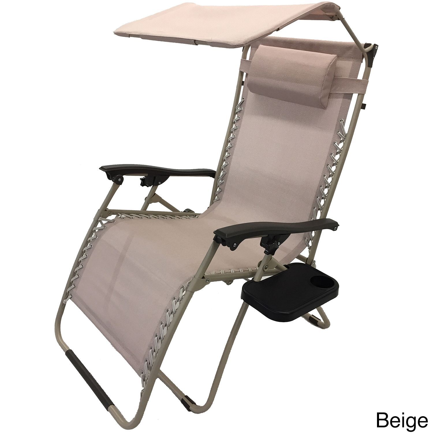 China Mesh Fabric With Steel Frame Zero Gravity Chair With Canopy and Tray (Beige), Patio Furniture