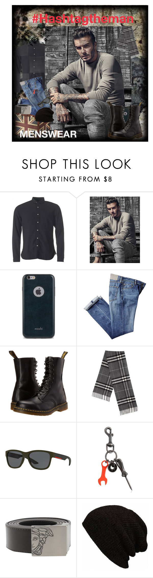 """#13"" by harrietthad ❤ liked on Polyvore featuring Oliver Spencer, Moshi, Dr. Martens, Burberry, Prada Sport, Diesel, Versace, mens, men and men's wear"