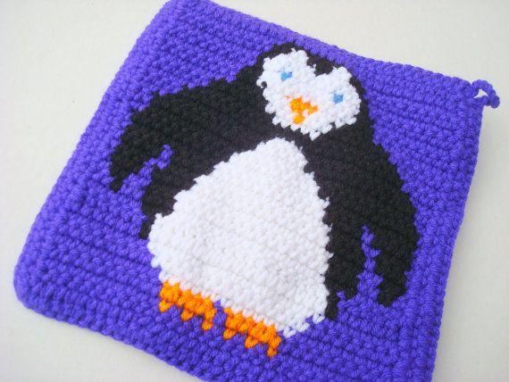 NEW! Purple Penguin Pot Holder, Potholder, Crochet Potholder, Crocheted Potholder, Animal, Bird, Penguin Home Decor by Hoooked, $10.00