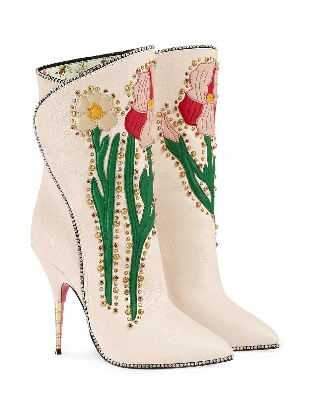 f7fc5262e Gucci Cream Flowers 110 Leather Boots in 2019 | heels | Boots, Gucci ...