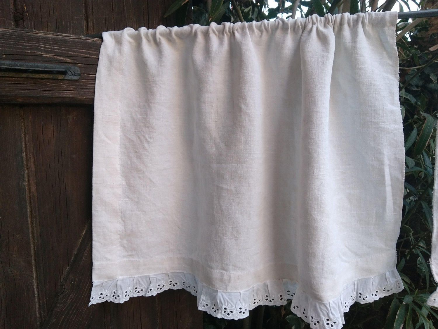 Rustic antique white linen curtain eyelet lace trim french handmade