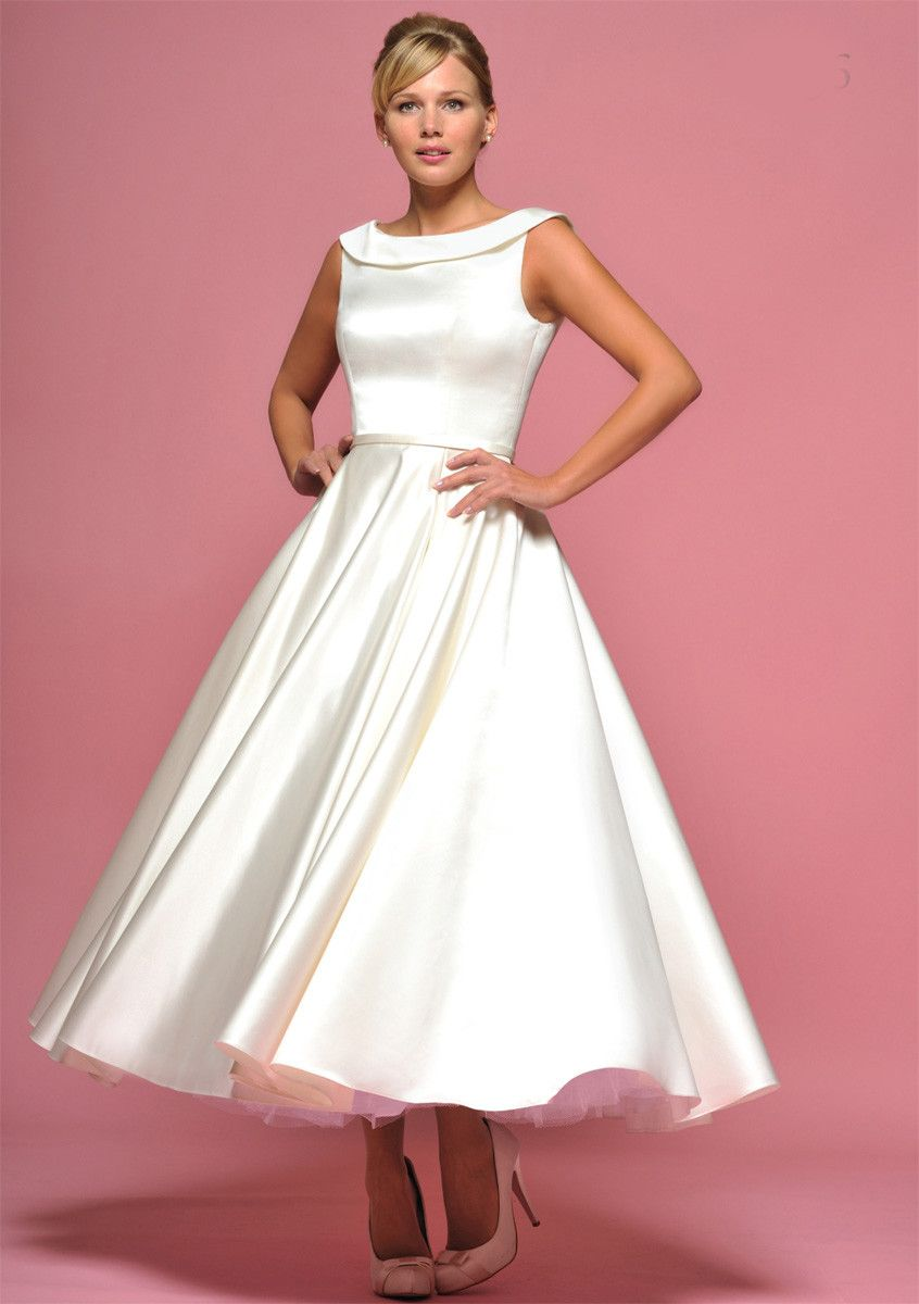 Retro s ankle length wedding dress with boat neck and v back