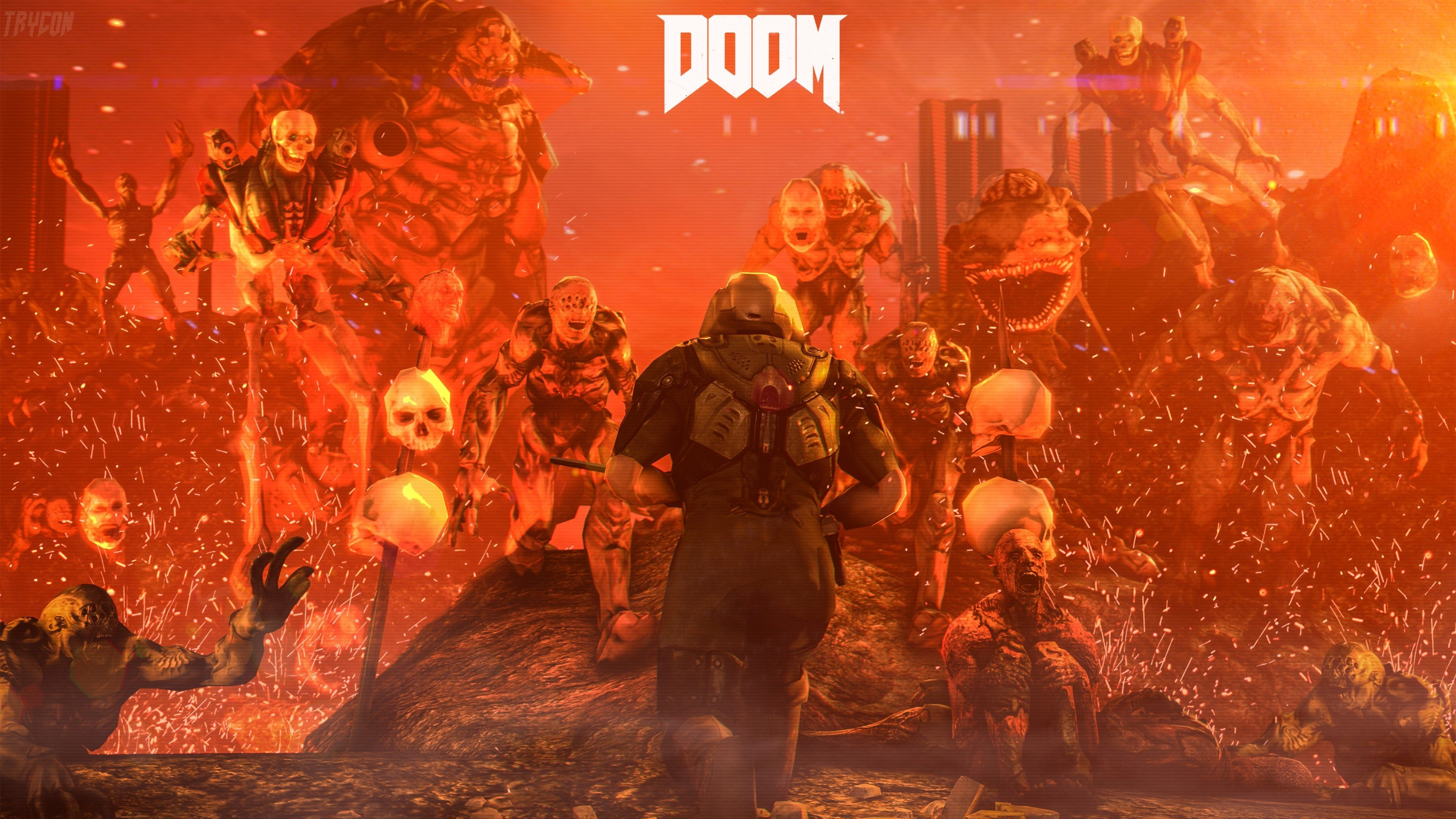 3840x2160 Doom 4k Background Hd Desktop Doom 4 Art Wallpaper Doom Cover