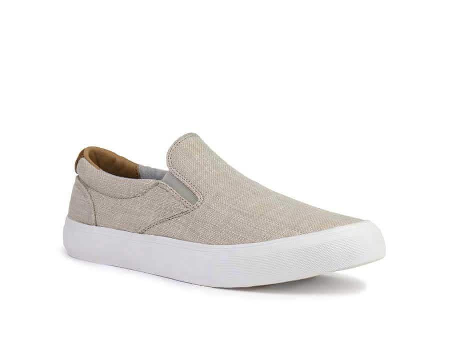 Crevo Footwear Pax Linen Slip On Sneakers for Men in Beige CV1605-261