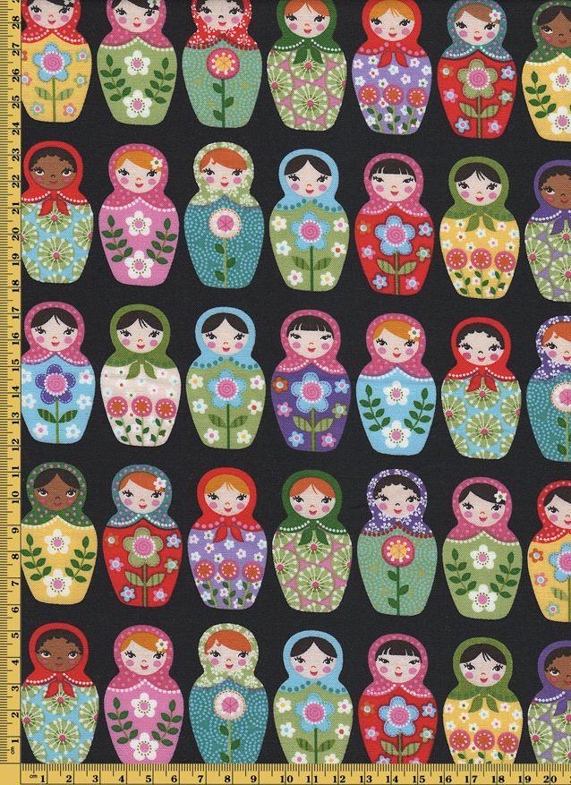 Tkanina Matrioszka Na Czarnym F 1221a 3471632811 Oficjalne Archiwum Allegro Frases Dibujos