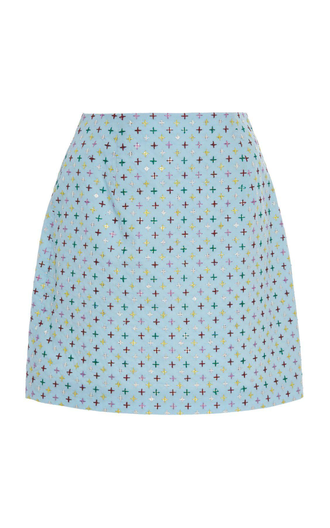 32ba3a510f95 Embroidered Cotton Mini Skirt by Markarian PF19   Moda Operandi ...