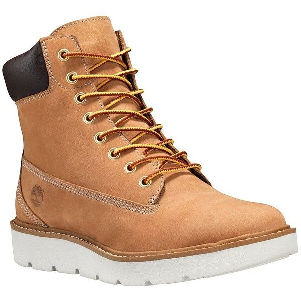 Timberland Kenniston Leather Lace-Up Boots ($140) ❤ liked on Polyvore featuring shoes, boots, brown, lace up shoes, brown leather lace up boots, rubber sole shoes, silver boots and silver shoes