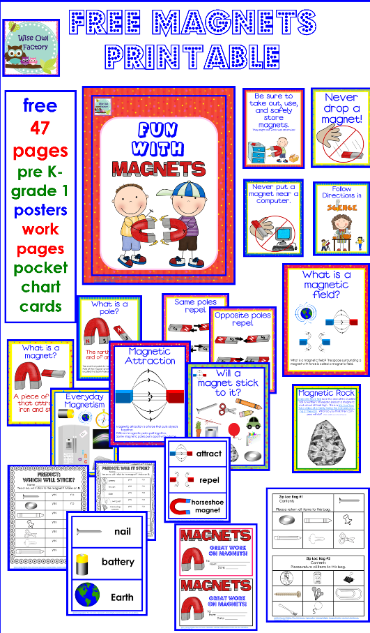 Magnets Free Printable with Letter Size Teaching Posters