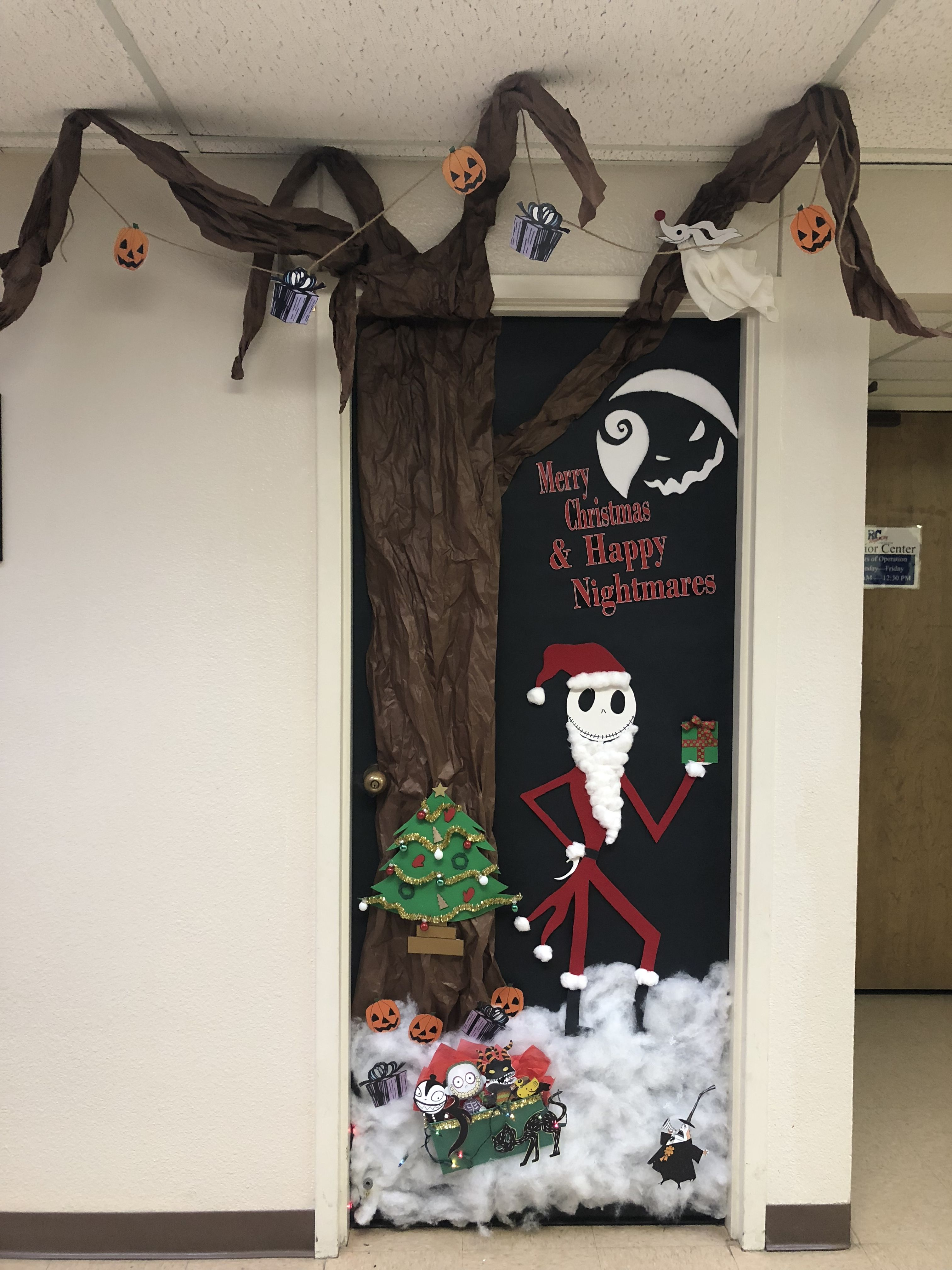 Door Decorating Contest Nightmare Before Christmas Nightmare Before Christmas Decorations Classroom Christmas Decorations Christmas Door Decorating Contest