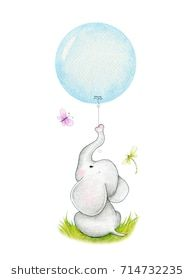 Cute elephant with blue balloon