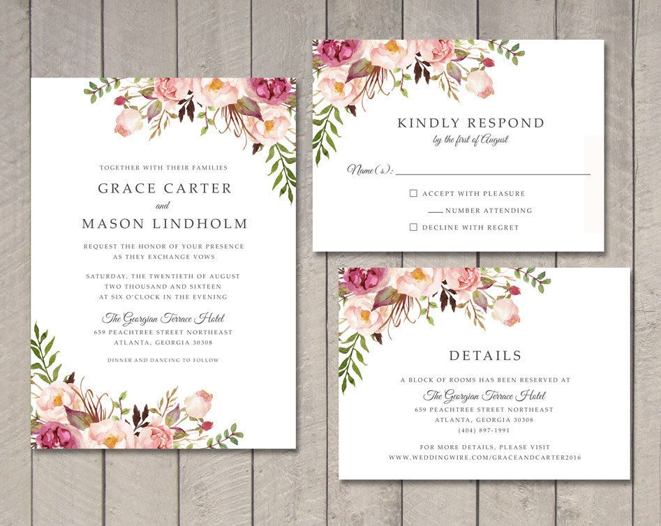 Floral Wedding Invitation RSVP Details Card Printable by Vintage