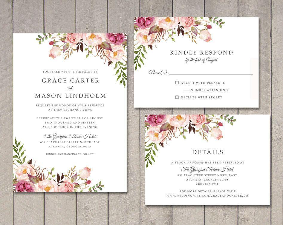 Floral wedding invitation rsvp details card printable