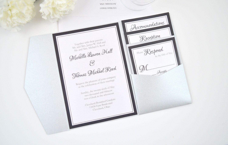 Formal Monogram Pocketfold Wedding Invitation With Belly Band In Black S Pocket Wedding Invitations Pocket Fold Wedding Invitations Personalised Wedding Cards