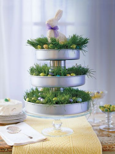 Elevate a beribboned white-chocolate bunny to top-tier status with this clever triple-decker display. To make: Remove labels from two unopened tin cans. With a glue gun, attach cans to the centers of three round cake pans as shown. Divide flats of wheatgrass (available at health food stores), and arrange inside pans with the grass poking out. Add foil-covered chocolate eggs to each pan. Set atop a low cake stand, and let your bunny preside over the festivities.