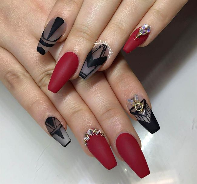 best-simple-black-and-red-nails-designs-for-ladies - Best-simple-black-and-red-nails-designs-for-ladies Nail Art