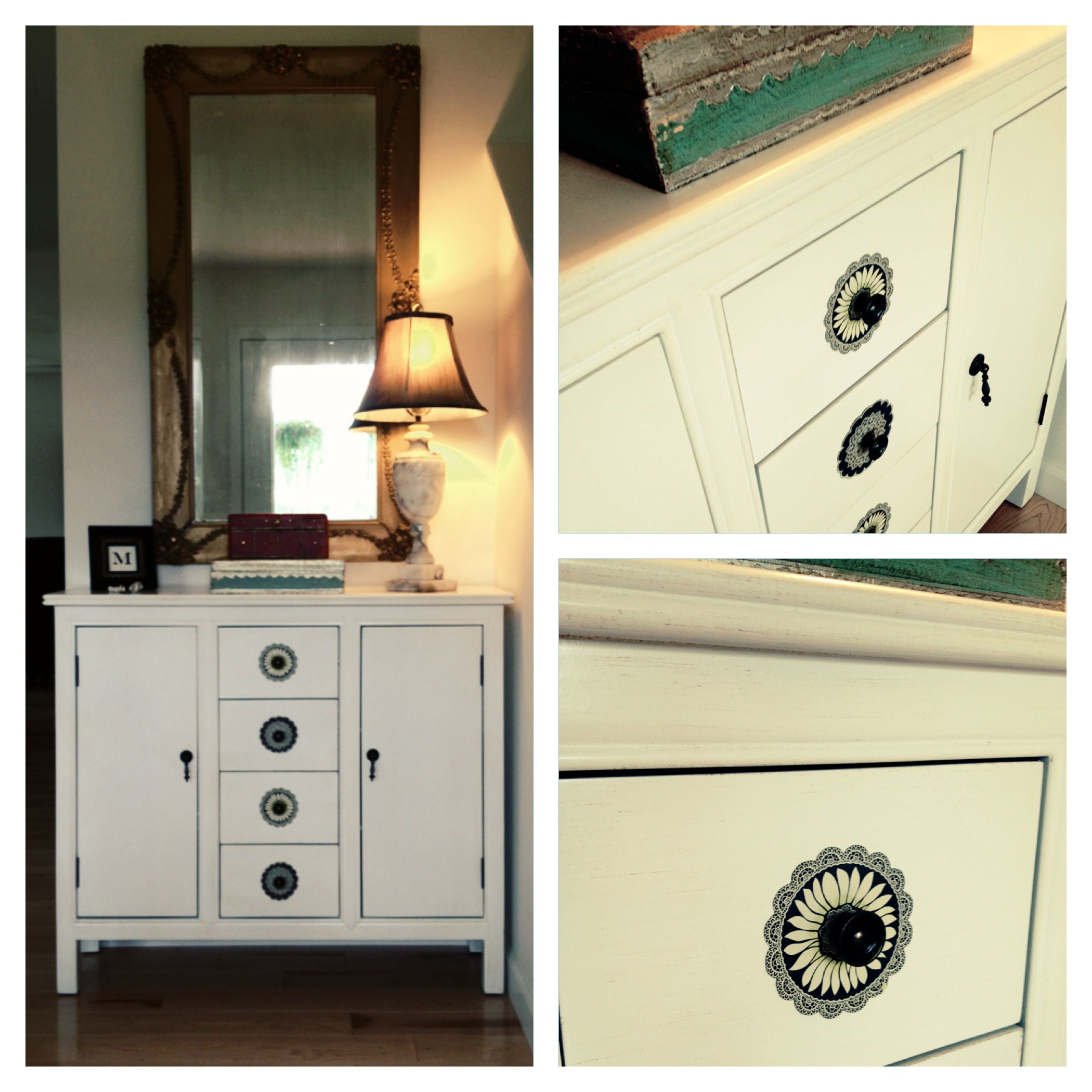 Add Some Detail To Any Piece Of Furniture With Scrapbook Paper Knob Plates.